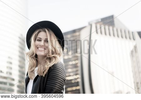 Happy Woman With Long Blond Hair, Hairstyle, In Paris, France. Sensual Woman In Black Hat Smile Outd