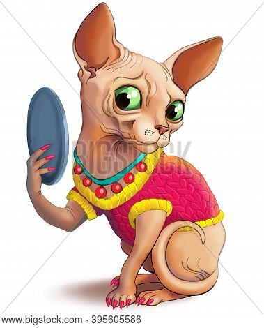 Illustration. A Funny Sphinx Cat In A Pink Sweater And Manicure Looks In The Mirror And Admires Hims