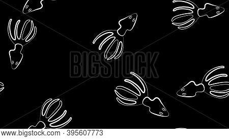 Squid Calamari Graphic Blue Beige Color Seamless Pattern Sketch Illustration Vector.