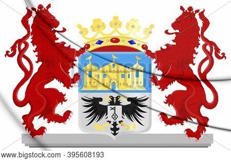 3d Valkenburg Aan De Geul Coat Of Arms (limburg), Netherlands. 3d Illustration.