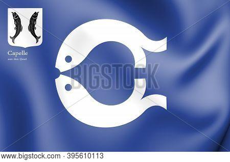3d Flag Of Capelle Aan Den Ijssel (south Holland), Netherlands. 3d Illustration.
