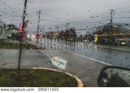View from car window in rainy day