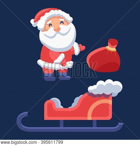 Santa Claus With Sledge On Navy Blue Backdrop. Christmas Holiday Postcard For Invitation Or Gift Car