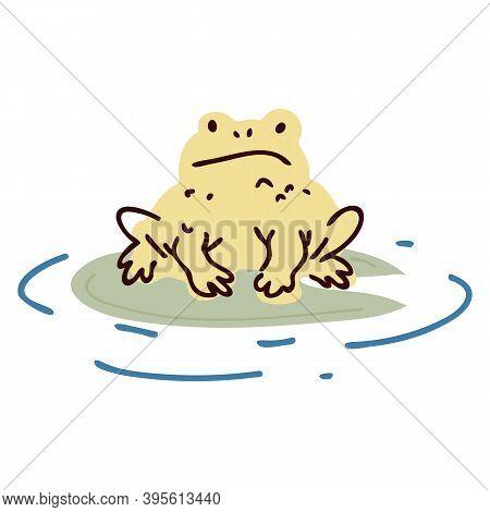 Cute Cartoon Toad On Pond Lily Pad Lineart Vector Illustration. Simple Amphibian Sticker Clipart. Ki