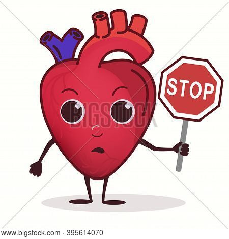 Heart Character With Stop Prohibition Sign, Healthcare Concept, Cardiac Disease. Vector