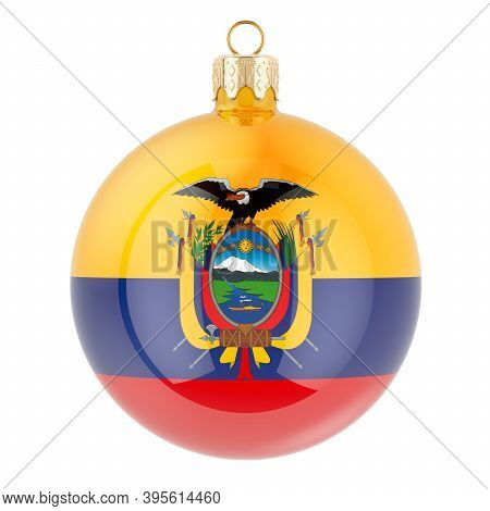 Christmas Ball With Ecuadorian Flag, 3d Rendering Isolated On White Background