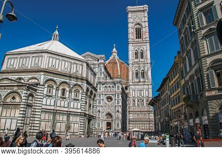 Florence, Italy - May 14, 2013. View Of Square With The Baptistery Of St. John, Cathedral Santa Mari