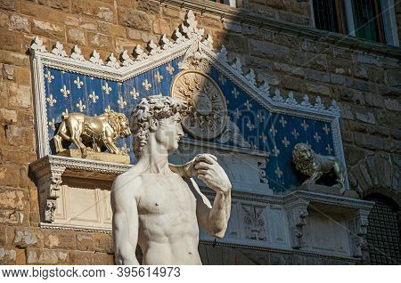 Florence, Italy - May 14, 2013. Close-up Of The Statue Of David In Front Of The Palazzo Vecchio At S