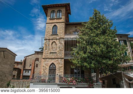 Passignano Sul Trasimeno, Italy - May 15, 2013. View Of Restaurant In Old Building In The Village Pa