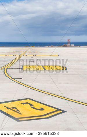 Fuerteventura, Spain - May 15, 2013. Taxiway Markings On A Commercial Runway, Fuerteventura Airport,