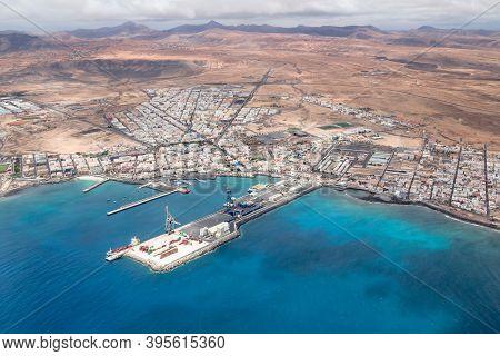 Fuerteventura, Spain - May 15, 2013. Busy Cargo Port And Harbour In The Atlantic Ocean. Puerto Del R