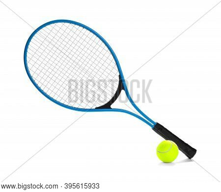 Tennis Racket And Ball On White Background. Sports Equipment