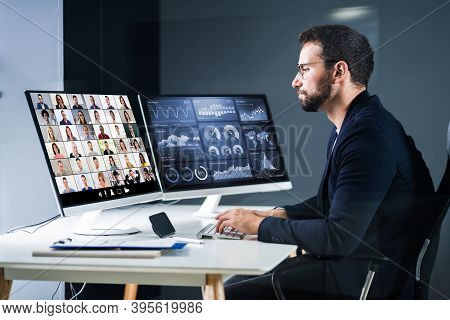 Online Video Conference Interview Meeting. Conferencing Webinar
