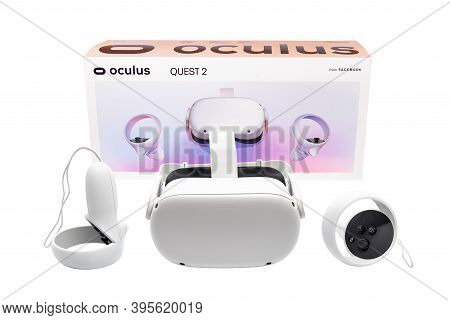 Huelva, Spain - October 14, 2020: Oculus Quest 2, The Next Generation Of All-in-one Vr. With A Redes