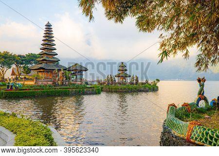 Pura Ulun Danu Bratan Temple In Bali Island. Beautiful Balinese Temple. Balinese Landmark. Cloudy Sk