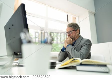 Frustrated Unhappy Workaholic Businessperson. Disappointed Employee Problem