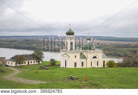 The View Of Alexander Nevsky Church.  Dniester In The City Of Khotyn. The Garrison Church Of St. Ale