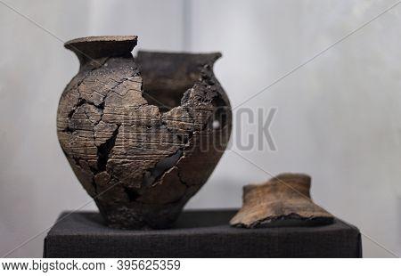 Khotyn, Ukraine - September 24 2020 : Shards Of Pottery. Broken Dishes, Archaeological Find. Vintage