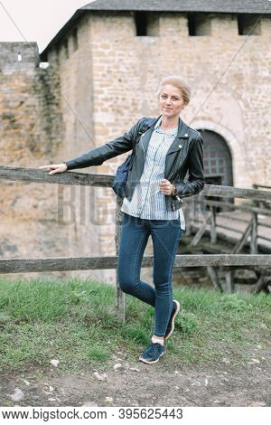 One Beautiful Girl Stands Outside Khotyn Fortress Of The X Xviii Centuries. One Of The Seven Wonders