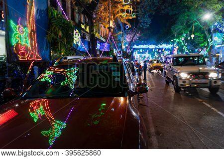 Park Street,kolkata, India - 12th November 2020 : Reflection Of Decorated Diwali Light On Parked Car