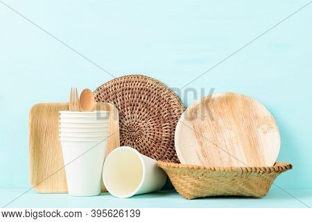 Biodegradable, Compostable, Disposable Or Eco Friendly (plate, Bowl, Cup) On Pastel Color Background