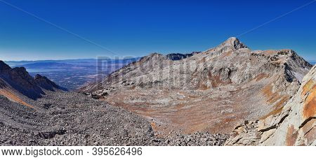 Majestic Mountain Landscape View Phelps Canyon In Lone Peak Wilderness, Box Elder Peak From White Ba