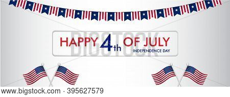 4th Of July Independence Day Illustration With Usa Flag For Facebook Wall Size Banner