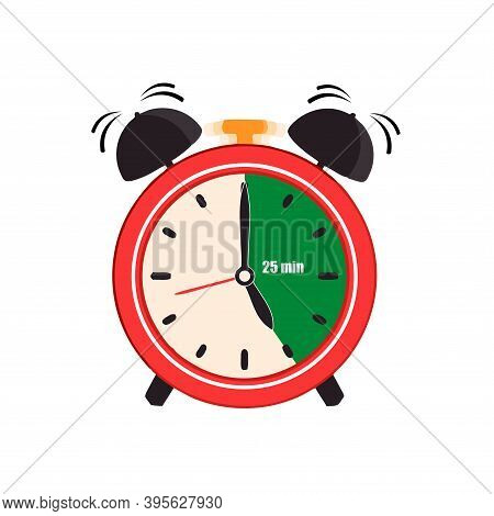 Twenty Five Minutes On An Analog Clock Face Mark. Flat Style Design Vector Illustration Icon Isolate