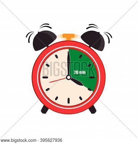 Twenty Minutes On The Analog Clock Face Mark. Flat Style Design Vector Illustration Icon Isolated On