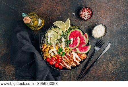 Buddha Bowl With Brown Rice, Grilled Chicken Breast, Avocado, Tomato, Peas, Corn, Watermelon Radish,