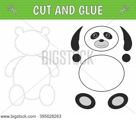 A Panda Of Geometric Shapes. Cut And Glue. Children's Game. Constructor, Application. Vector Illustr