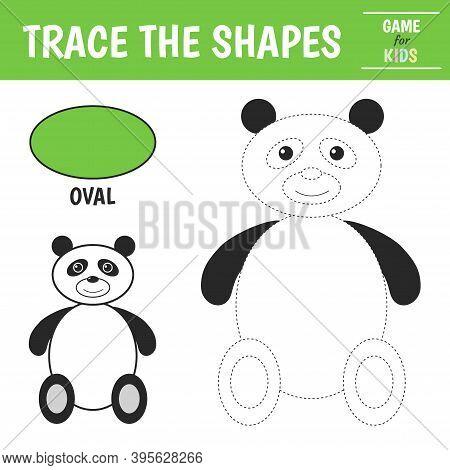 Learn Geometric Shapes - Oval. Preschool Worksheet For Practicing Motor Skills. Panda Of Geometric S
