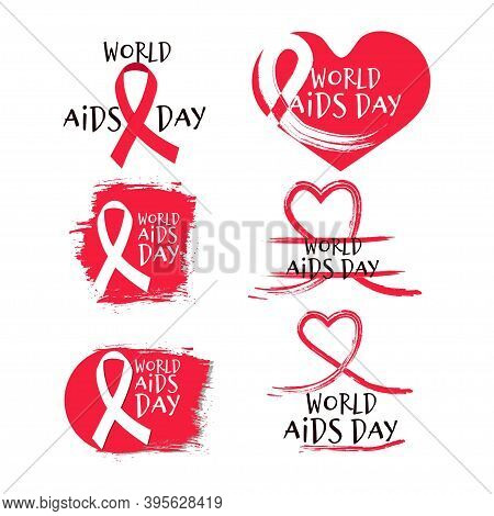 Set Of Red Different Designs Aids, Hiv Awareness Isolated On White Background, Text World Aids Day.