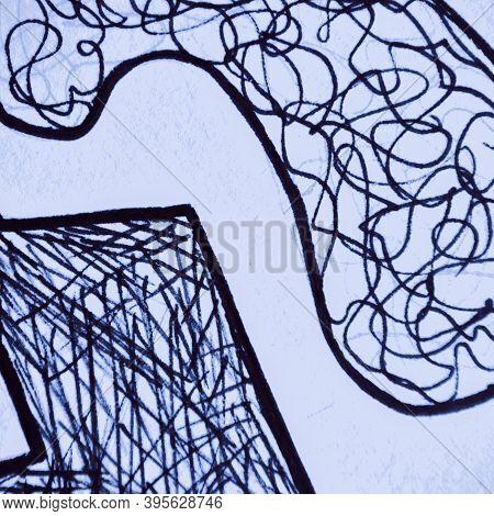 Scribble Abstract. Nautical Scratch Line. Indigo Handmade Doodle. Distress Texture. Sky Doodle Backg