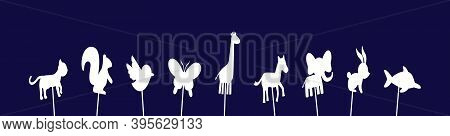 Set Of Shadow Puppet. Set Of Shadow Puppet. Cartoon Icon Design Template With Various Models. Modern