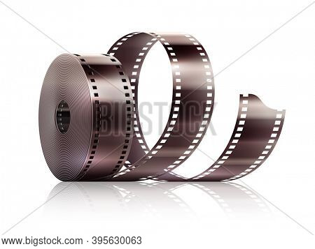 Cinematography movie video film tape isolated. Isolated on white transparent background. 3D illustration.