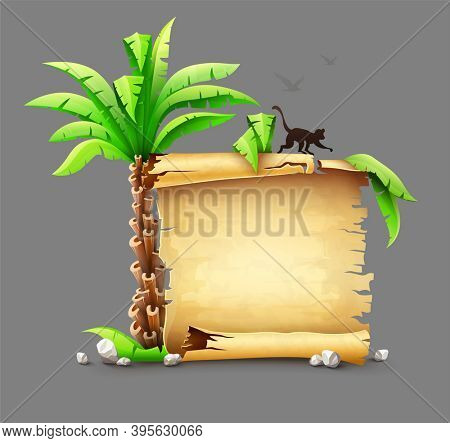 Old yellow paper manuscript scroll, palms leaves and monkey silhouette from tropical island. Tropical vojage travel banner concept. Ancient script document. Isolated on gray background..