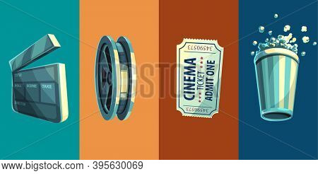 Vintage retro icon of cinema objects clapperboard disc with film-strip ticket in movie theater and popcorn ,. 3D illustration.