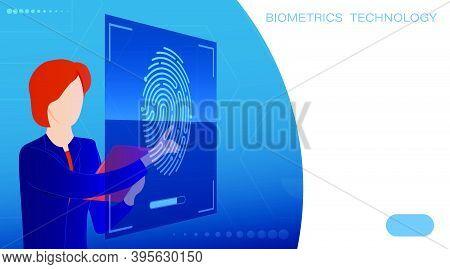 Woman Scans Fingerprint On Touch Screen. Scanning Person Fingerprint For Mobile Identification App.