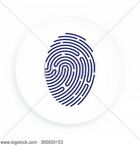 Person Digital Fingerprint Icon In Neomorphism Style On White Background For Mobile Identification A
