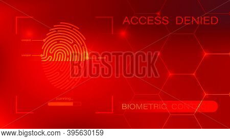 Banner With Fingerprint Scanner And Denied Access. Cybersecurity Technology Concept. Scanning Person