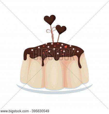 Tasty Pudding With Chocolate Glaze, Confectionery Dessert, Holiday Menu Isolated On White Background