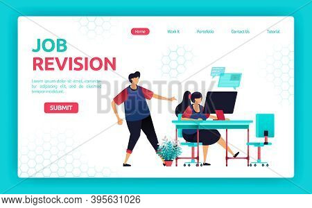 Vector Illustration Of Client Looking For And Requesting Job Revisions From A Freelancer. Communicat