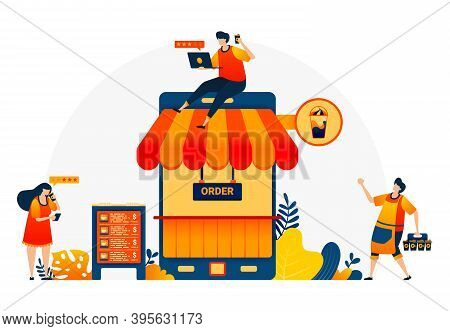 Illustration Of Coffee Shop With Phone And Roof. Coffee Shop Metaphor 4.0 With Internet. Coffee Bar