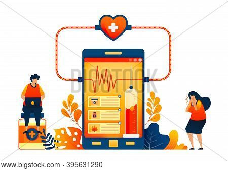 Online Health Checkup Technology. Sales Of Drugs With Patient Reviews. Vector Illustration Concept C