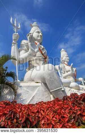 Hindu god and goddess lord Shiva and Parvathi statues on Kailasagiri hill in Andhra Pradesh state India