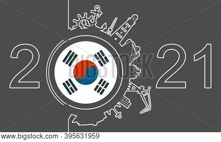 Circle With Sea Shipping And Travel Relative Silhouettes. Objects Located Around The Circle. Industr