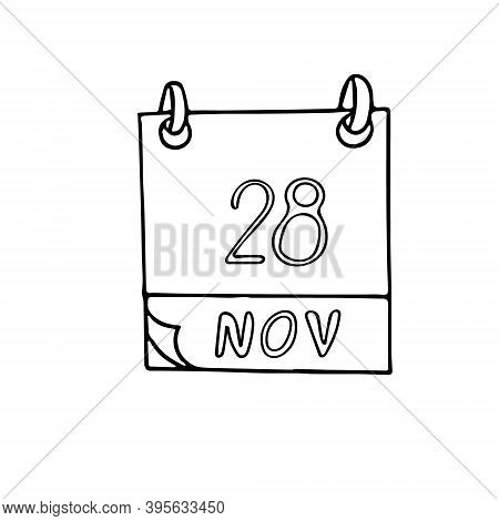 Calendar Hand Drawn In Doodle Style. November 28. World Compassion Day, Date. Icon, Sticker Element