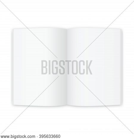 Open Magazine Or Book White Blank Pages. Template For Brochure D For Your Design