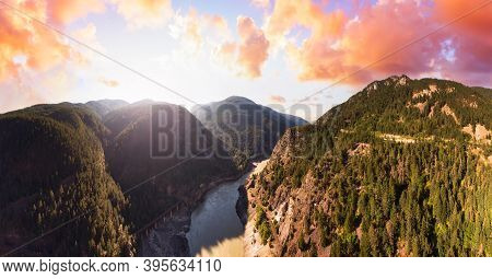 Beautiful Panoramic View Of Canadian Nature And A Scenic Road, Trans-canada Hwy. Dramatic Colorful S
